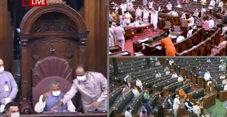 Photo of Parliament Live Updates: Rajya Sabha adjourned again as suspended MPs refuse to leave House