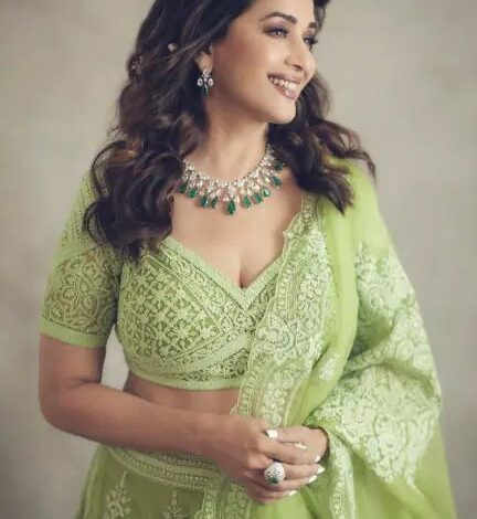 Madhuri Dixit in green embroidered lehenga looks like a beautiful dream. See pics