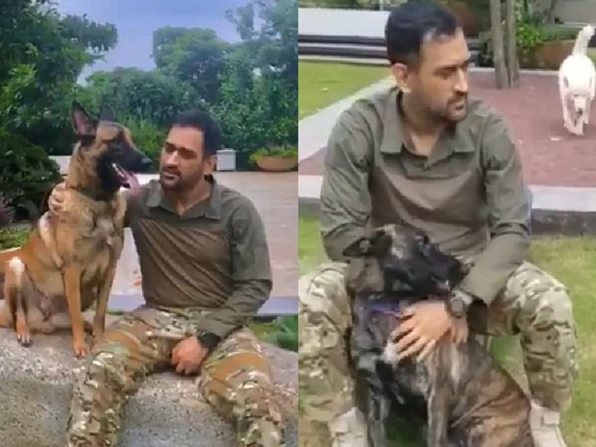 Mahendra Singh Dhoni with his pets