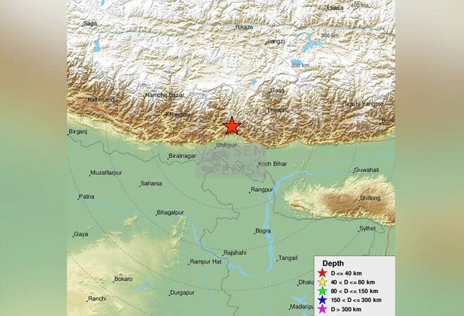 Mild earthquake of magnitude 5.4 on the Richter scale hit Sikkim-Nepal border on Monday evening.