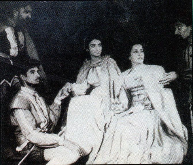 A picture of a play starring Amitabh Bachchan during his college days