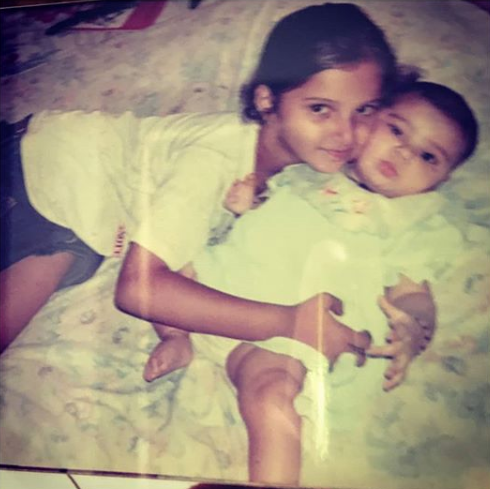 Sania Mirza With Her Younger Sister Anam In Their Childhood