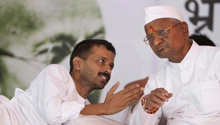 Anna Hazare with Arvind Kejriwal on protest
