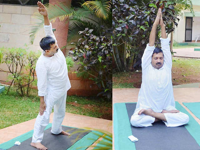 Arvind Kejriwal doing Yoga