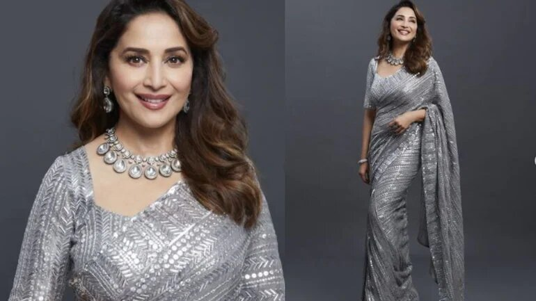 Madhuri Dixit in metallic silver saree steals the show in new pics. Nora Fatehi reacts