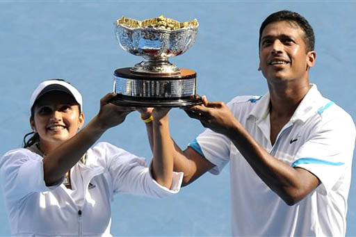 Sania Mirza And Mahesh Bhupathi After Winning The 2012 French Open In Mixed Doubles