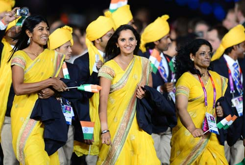 Sania Mirza During The Opening Ceremony Of The 2008 Beijing Olympics