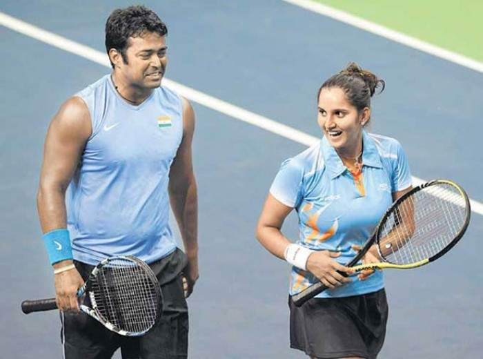 Sania Mirza With Leander Paes