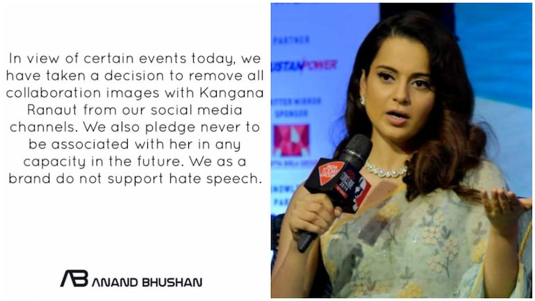 Kangana Ranaut banned from future projects, Anand Bhushan and Rimzim Dadu remove collab posts
